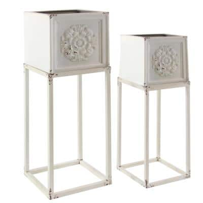 Farmhouse 28 in. and 35 in. Rectangular White Planter Stands (Set of 2)