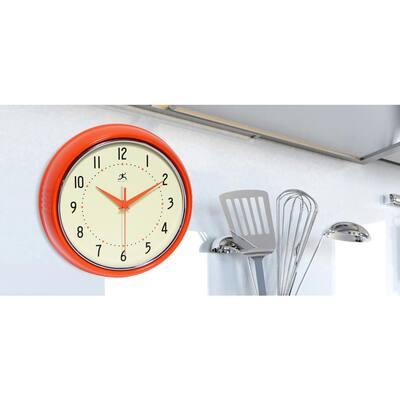 9-1/2 in. Orange Retro Round Metal Wall Clock