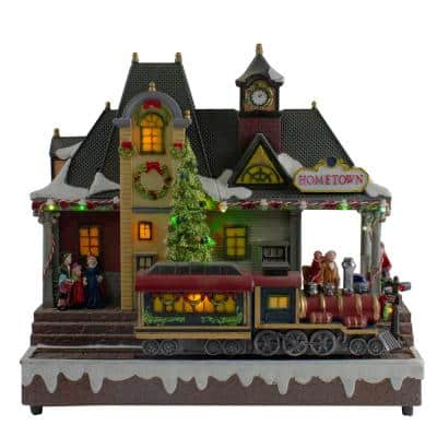 13 in. LED Lighted Christmas Village With Turning Function And Music