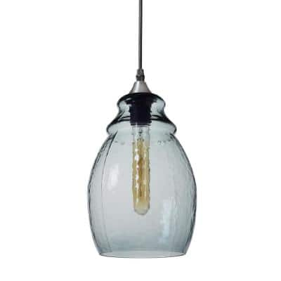 12 in. H 1-Light Silver Hammered Glass Pendant with Blue Glass Shade