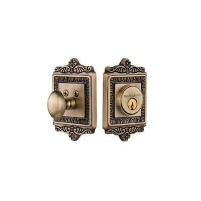 Egg and Dart Plate 2-3/8 in. Backset Single Cylinder Deadbolt in Antique Brass