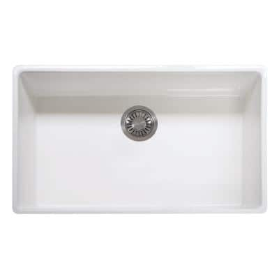 Farmhouse/Apron-Front Fireclay 33 in. x 20 in. Single Bowl Kitchen Sink in White