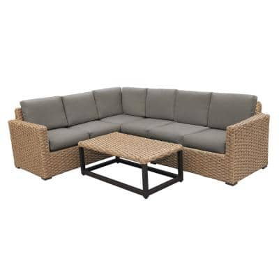Avalon 5-Pieces Wicker Outdoor Sectional Set with Gray Cushions