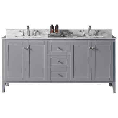 York 72 in. W x 22.4 in. D x 34.2 in. H Bath Vanity in Taupe Grey w/ Carrara Marble Vanity Top in White w/ White Basin