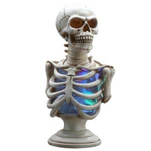 13 in. Skull Decoration with Mix Color Battery Operated LED