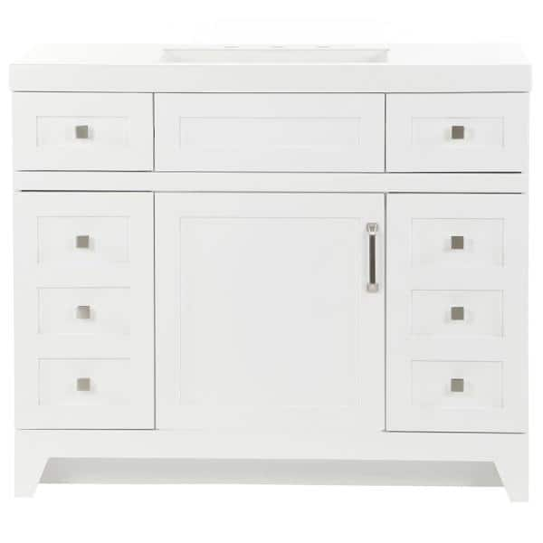 St Paul Rosedale 42 In W X 19 In D Bathroom Vanity In White With Cultured Marble Vanity Top In White With White Sink Rd42p2 Wh The Home Depot