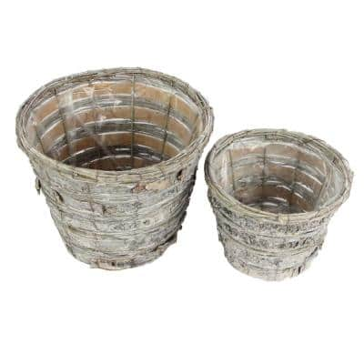 Grey Washed Birch Fabric Tree Bark Pot with Soft Liner