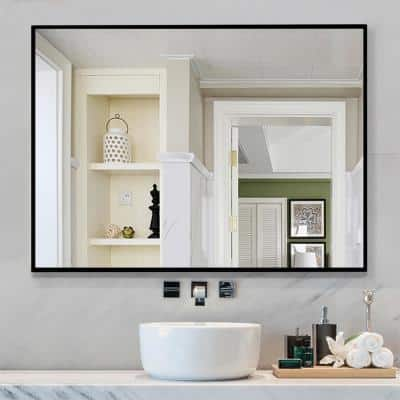 Medium Rectangle Black  Shelves & Drawers Modern Mirror (37.8 in. H x 26 in. W)