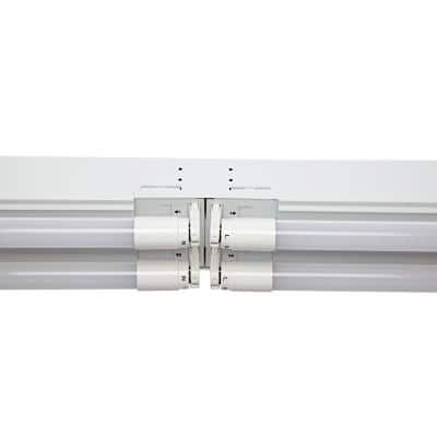 8 ft. 14-Watt 4-Light White Industrial LED White Strip Light Fixture with T8 LED 5000K Tubes