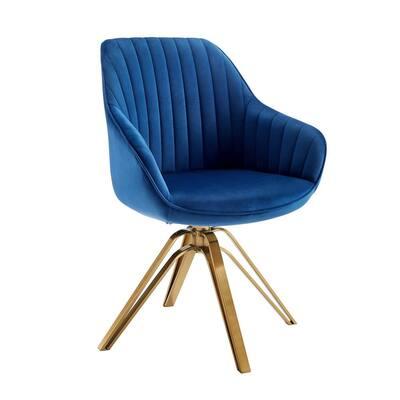 Arthur Mid-Century Mazarine Fabric Swivel Accent Arm Chair with Metal Legs