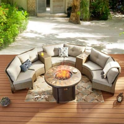 Fire Pit Included Patio Conversation Sets Outdoor Lounge Furniture The Home Depot