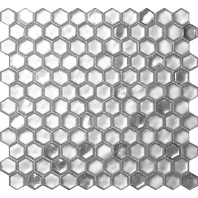 10 pack 10.8-in x 11.5-in Silver Hexagon Honed Glass Mosaic Floor and Wall Tile (8.63 Sq ft/case)