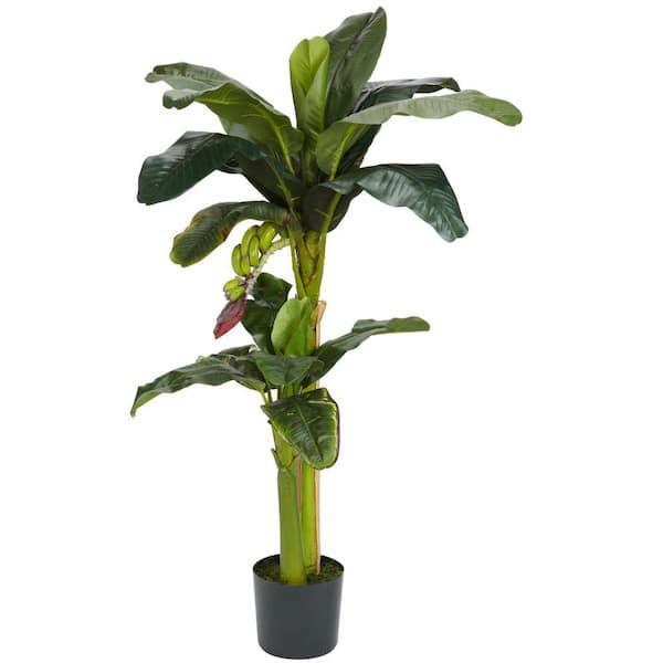 Nearly Natural - 5 ft. and 3 ft. Green Banana Silk Tree with Bananas