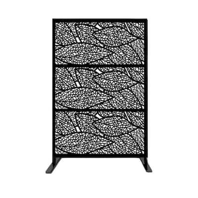 New Style MetalArt Laser Cut Metal Privacy Fence Screen, LeafSpecimen, Black, 24 in. x 48 in. /-Piece (3-Piece Combo)