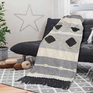 Symmetry Gray Geometric Cotton Throw Blanket