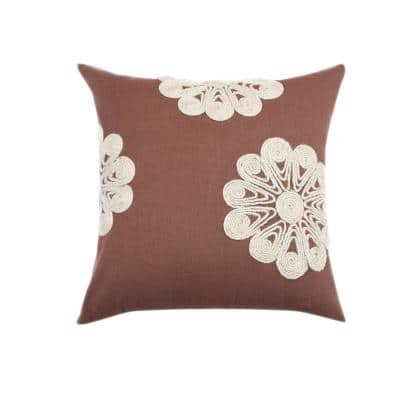 A1HC Brown Jute Dori 18 in. X 18 in. Floral 100% Cotton Embroidered Throw Pillow