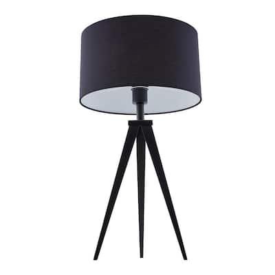 Zeppi 24.5 in. Black Tripod Table Lamp