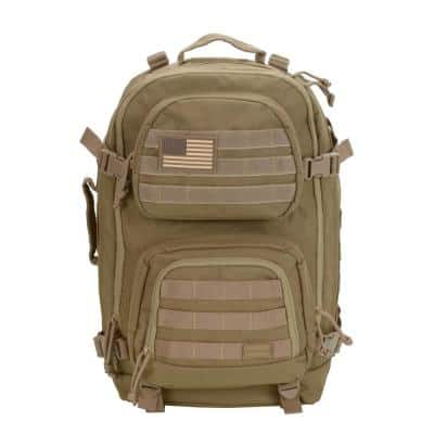 Military Tactical 20 in. Tan Laptop Backpack