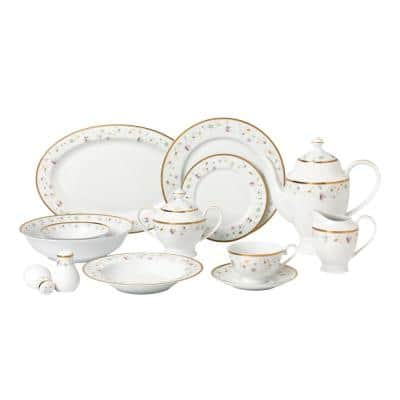 57-Piece Assorted Colors Dinnerware Set-New Bone China Service for 8-People-Greta