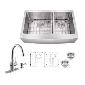 All-in-One Farmhouse Apron Front 16-Gauge Stainless Steel 36 in. 60/40 Double Bowl Kitchen Sink with Sensor Faucet