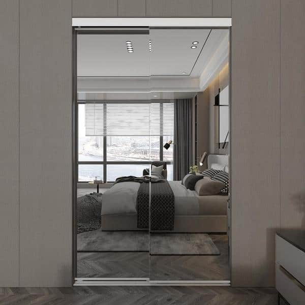 48 In X 80 5 In White Beveled Mirror Sliding Closet Door Hardware Included E04880co68 The Home Depot