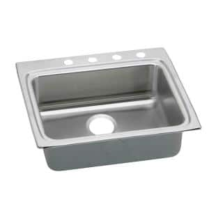 Lustertone Drop-In Stainless Steel 25 in. 4-Hole Single Bowl ADA Compliant Kitchen Sink with 6.5 in Bowls