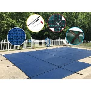 20 ft. x 40 ft. Rectangle Blue Mesh In-Ground Safety Pool Cover for Left End Step