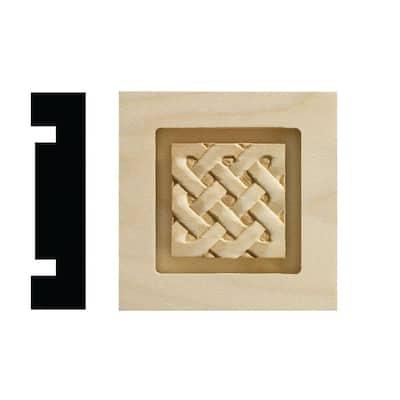 Celtic Collection 13/16 in. x 3-1/4 in. x 3-1/4 in. White Hardwood Casing Door and Window Corner Block Moulding