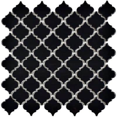 Hudson Tangier Glossy Black 12 in. x 12 in. Porcelain Mosaic Tile (10.96 sq. ft. / Case)