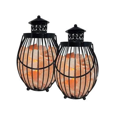 10.8 in. Natural Pink Ionic Crystal Salt Lantern Lamp