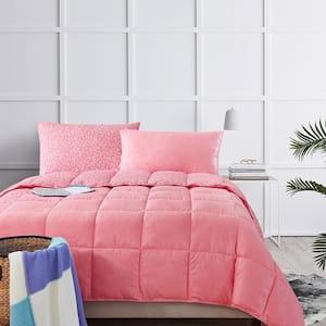 Bird on Branch Flamingo Pink Twin Comforter Set