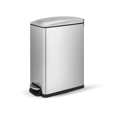 2.6 Gal./10-Liter Fingerprint Free Stainless Steel Slim Rectangular Bathroom and Office Step-on Trash Can