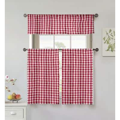 Garnet Gingham Rod Pocket Room Darkening Curtain - 15 in. W x 58 in. L (Set of 3)