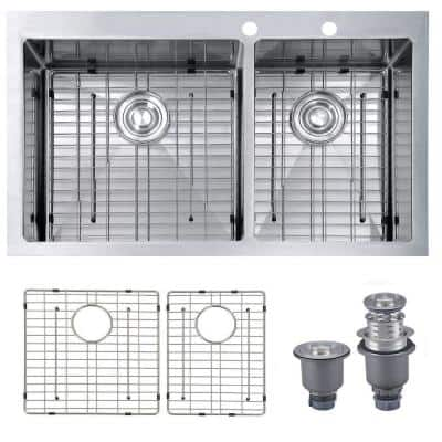 Handmade Drop-in Stainless Steel 33 in. 2-Hole 60/40 Double Bowl Kitchen Sink with Bottom Grid and Strainer