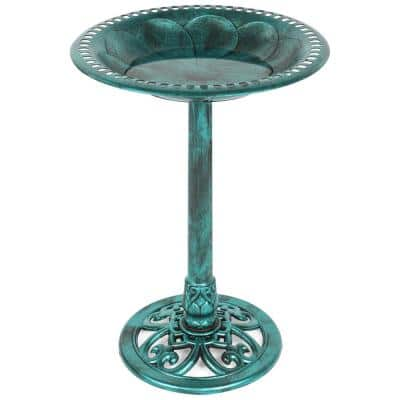 Pedestal Green Birdbath
