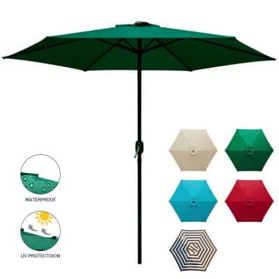 9 ft. Market Table Patio Umbrella with Push Button Tilt and Crank in Dark Green