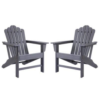 Classic Slate Grey Plastic Adirondack Chair for Outdoor Garden Porch Patio Deck Backyard (2-Pack)