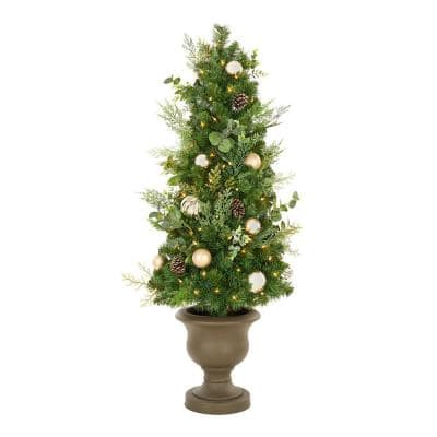 4.5 ft St. Germain Mixed Pine Potted Pre-Lit Artificial Christmas Tree with 70 Warm White Mini Lights