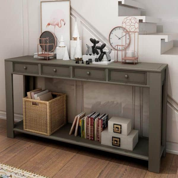 Standard Rectangle Wood Console Table, Console Table With Storage Bins