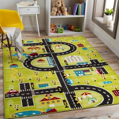 City Streets Multi-Colored Green 3 ft. 11 in. x 5 ft. 7 in. Area Rug