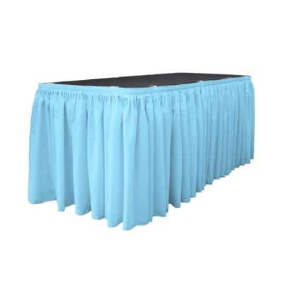 14 ft. x 29 in. Long Light Turquoise Polyester Poplin Table Skirt with 10 L-Clips