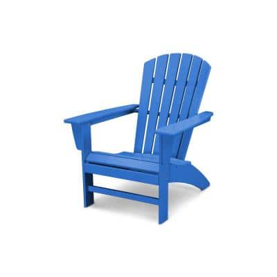 Grant Park Traditional Curveback Pacific Blue Plastic Outdoor Patio Adirondack Chair