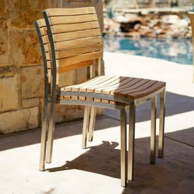 Laguna Stackable Steel and Teak Outdoor Patio Dining Chairs (2-Piece)
