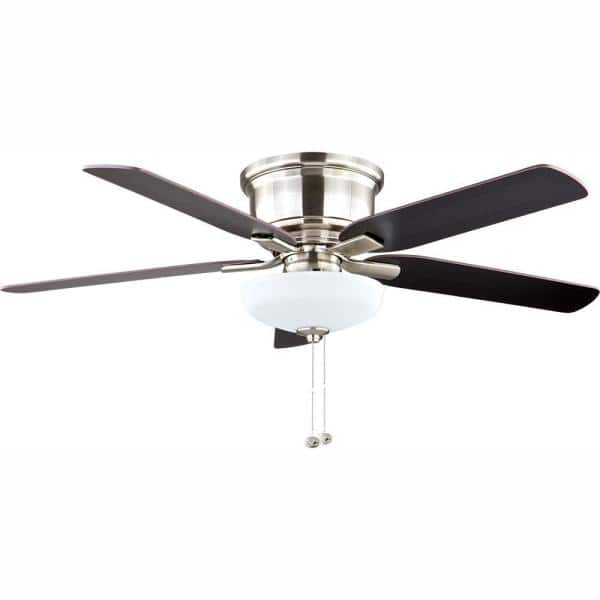 Hampton Bay Holly Springs Low Profile 52 In Led Indoor Brushed Nickel Ceiling Fan With Light Kit 57289 The Home Depot