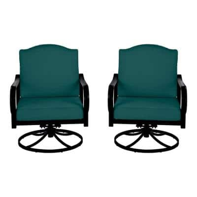 Laurel Oaks Brown Steel Outdoor Patio Lounge Chair with CushionGuard Malachite Green Cushions (2-Pack)