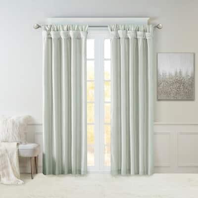 Dusty Aqua Solid Tab Top Room Darkening Curtain - 50 in. W x 108 in. L