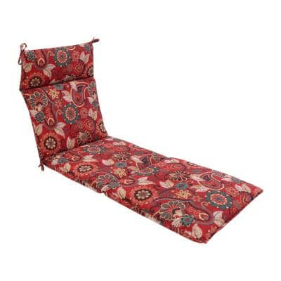 21.5 in. x 29 in. Outdoor Chaise Lounge Chair Cushion in Cliveden Chili
