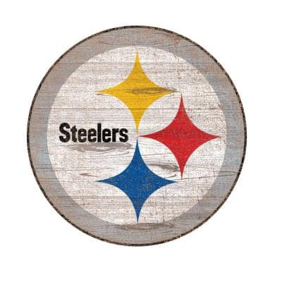 NFL Indoor Pittsburgh Steelers Distressed Logo Cutout Wood Sign