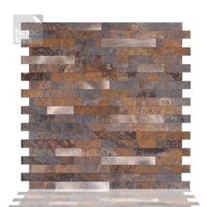 12-sheets Rustic Brown 11.5 in. x 11.75 in. Peel & Stick Metallic Wall Tile Backsplash [12 sq.ft./pack]