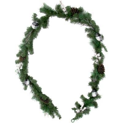 9 ft. Christmas Garland with Pinecones, Berries and Ornaments, Green
